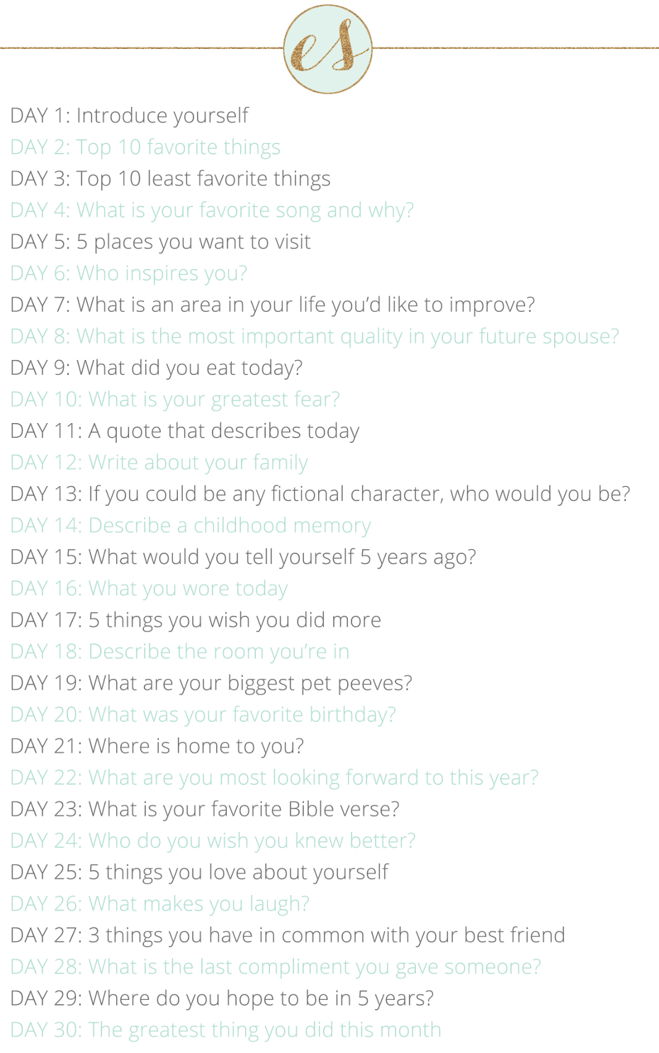 30 day journal prompt