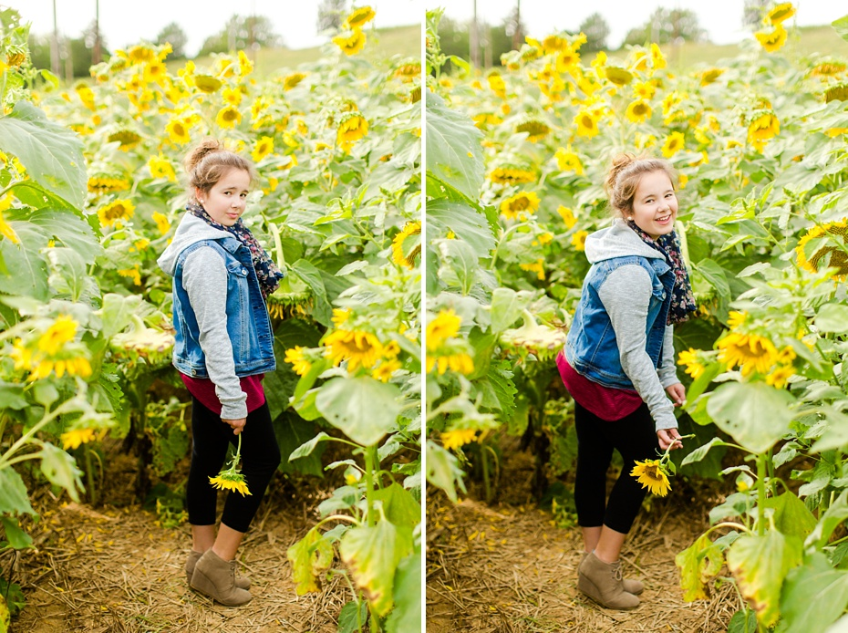 Joelle's 6th Grade Portraits in Sunflower Field and Fort Harrison in Dayton, Virginia_0008